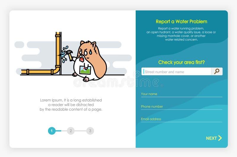 Diseño de pantallas de Onboarding en informe un problema y una forma del agua Ejemplo moderno y simplificado del vector libre illustration