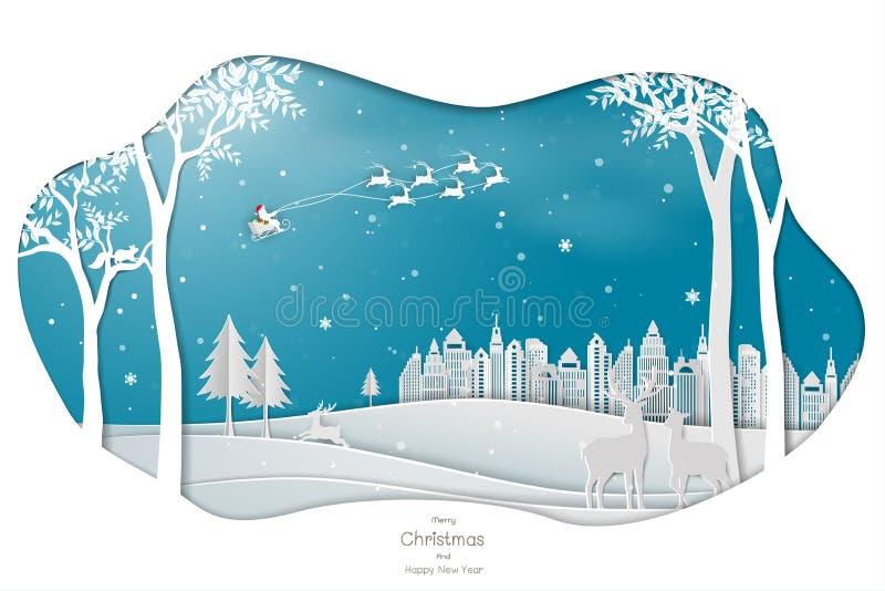 Diseño de papel del arte con Papá Noel que viene a la ciudad en fondo azul ilustración del vector