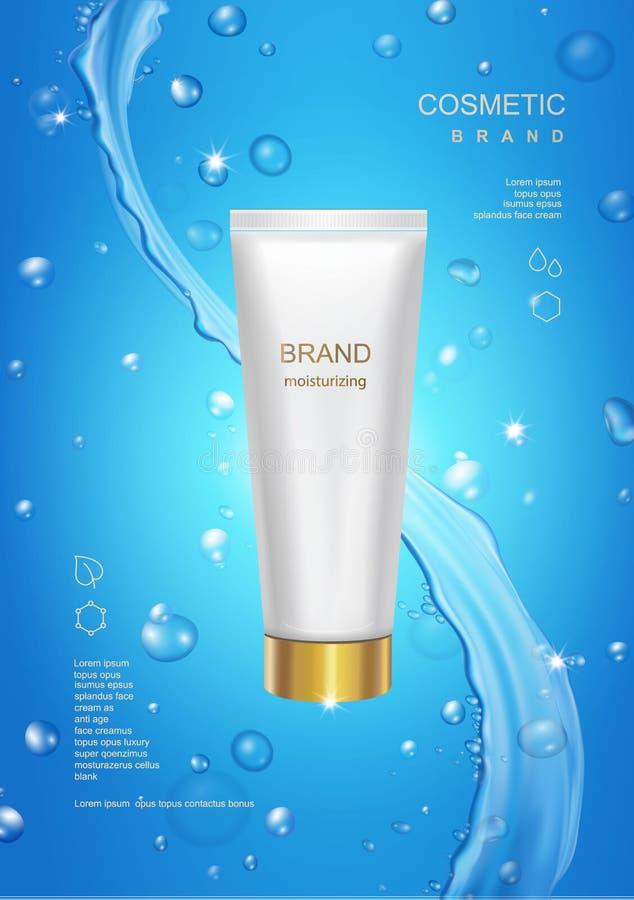 Diseño de paquete cosmético en blanco del tubo en fondo del agua azul con la plantilla poner crema hidratante de la publicidad de stock de ilustración