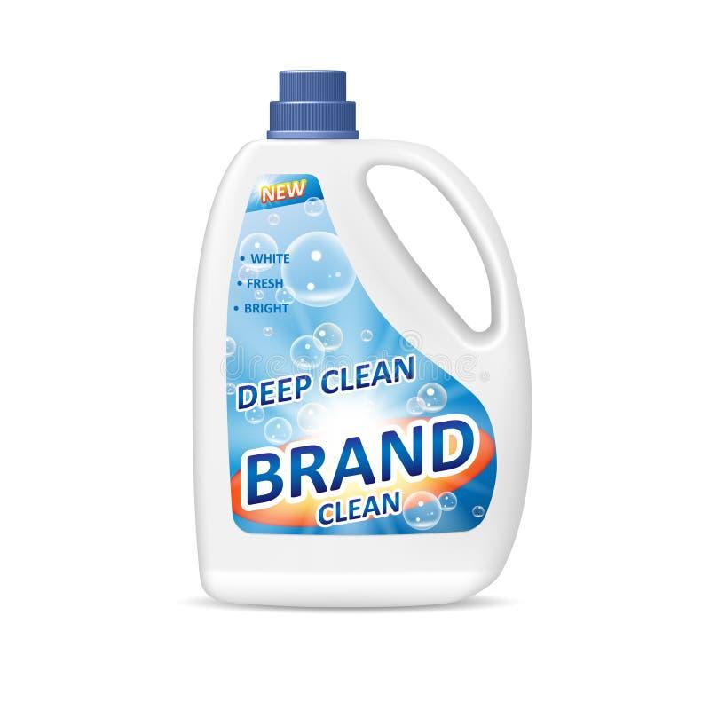 Diseño de paquete del producto para el cuarto de baño Envase detergente coloreado de la botella con el gel o el detergente para r stock de ilustración