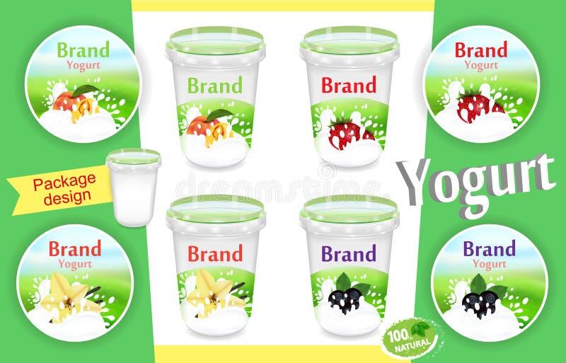 Diseño de paquete del yogur de la fruta y de la baya, envase de comida determinado en el ejemplo 3d Plantilla de empaquetado real ilustración del vector