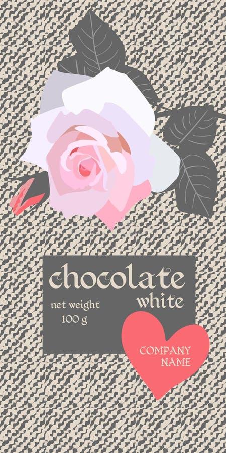 Diseño de paquete de la barra de chocolate con la rosa rosa clara hermosa y corazón rojo en fondo del dril de algodón Plantilla d libre illustration