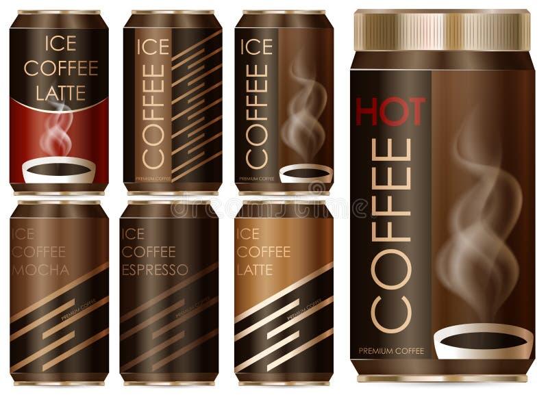 Diseño de paquete para diversos tipos de café ilustración del vector