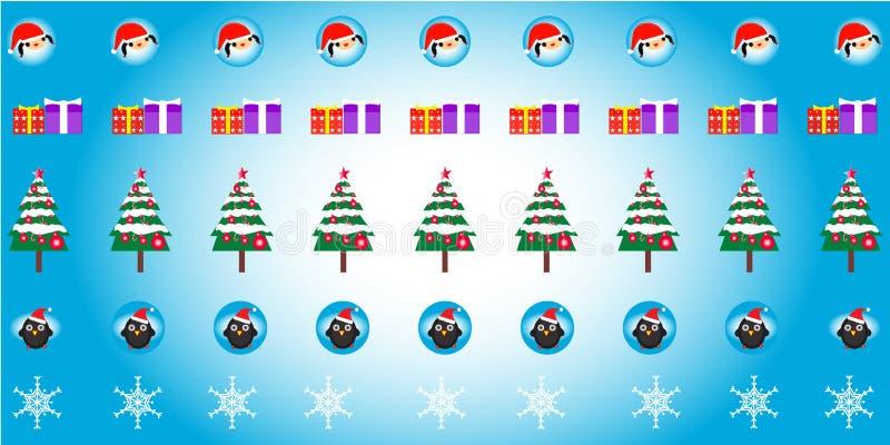 Diseño de patrones de Santa Claus Niñas, pingüinos, regalos, árboles, cristales de hielo Colección de conjuntos en un fondo azul- stock de ilustración