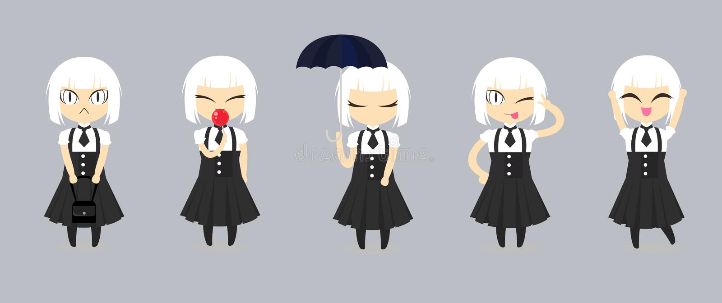 Diseño de personaje de dibujos animados lindo de la muchacha de la moda Fije del vestido negro de la ropa de mujer del pelo blanc ilustración del vector