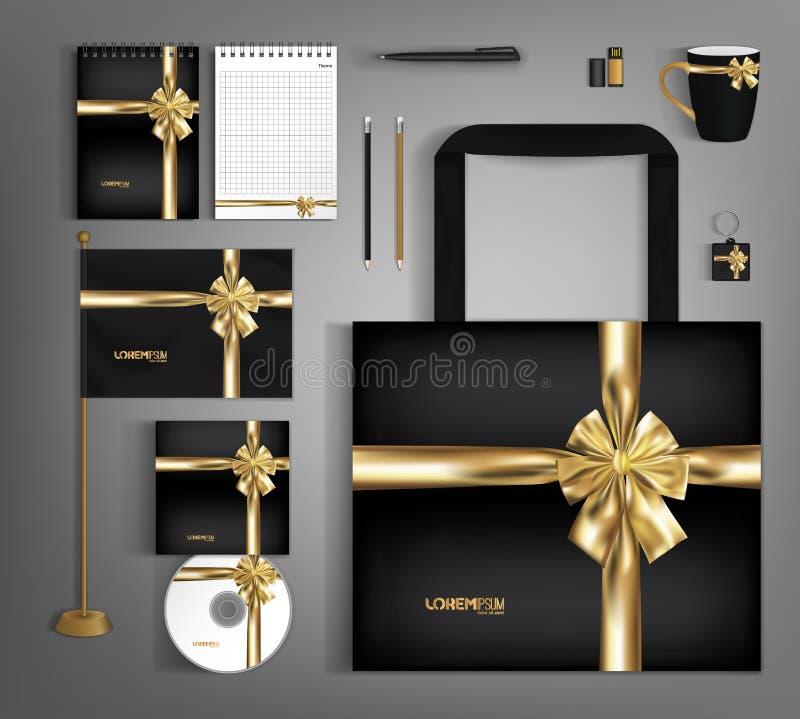 Diseño de plantillas de identidad corporativa de tendencia negra con arco dorado stock de ilustración