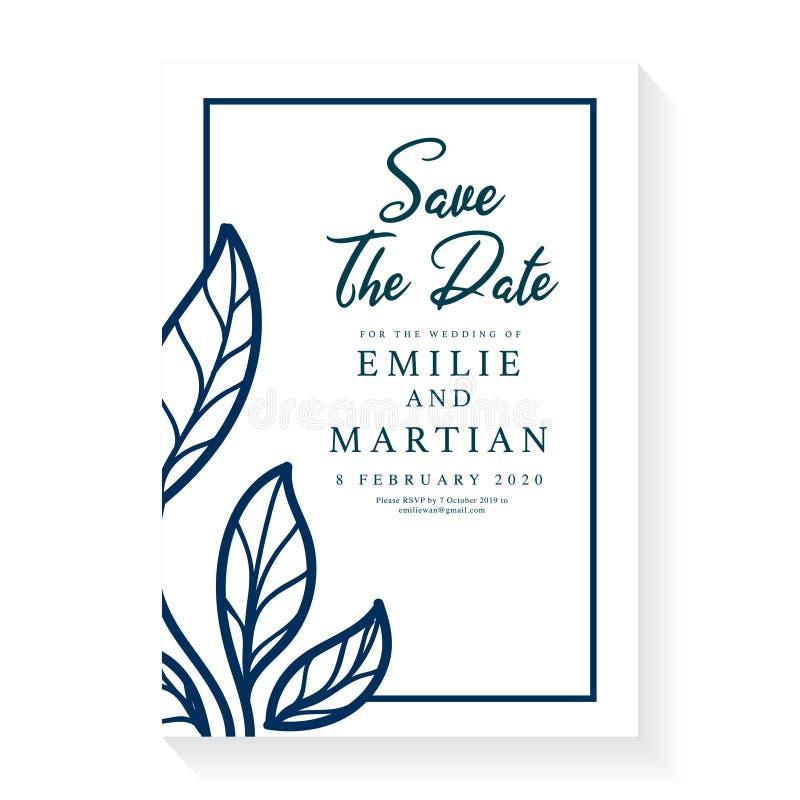 Diseño de plantillas de tarjetas de invitación de boda mínimo Concepto de adorno de boda Afiche floral, invitar Saludo decorativo stock de ilustración