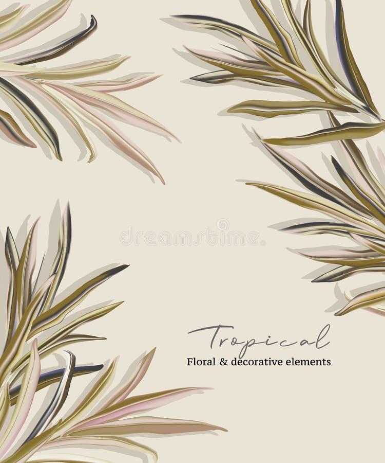 Diseño de plantillas de tarjetas de invitación de palma para saludos verdes en colores pastel, hojas de follaje dibujadas a mano  imágenes de archivo libres de regalías