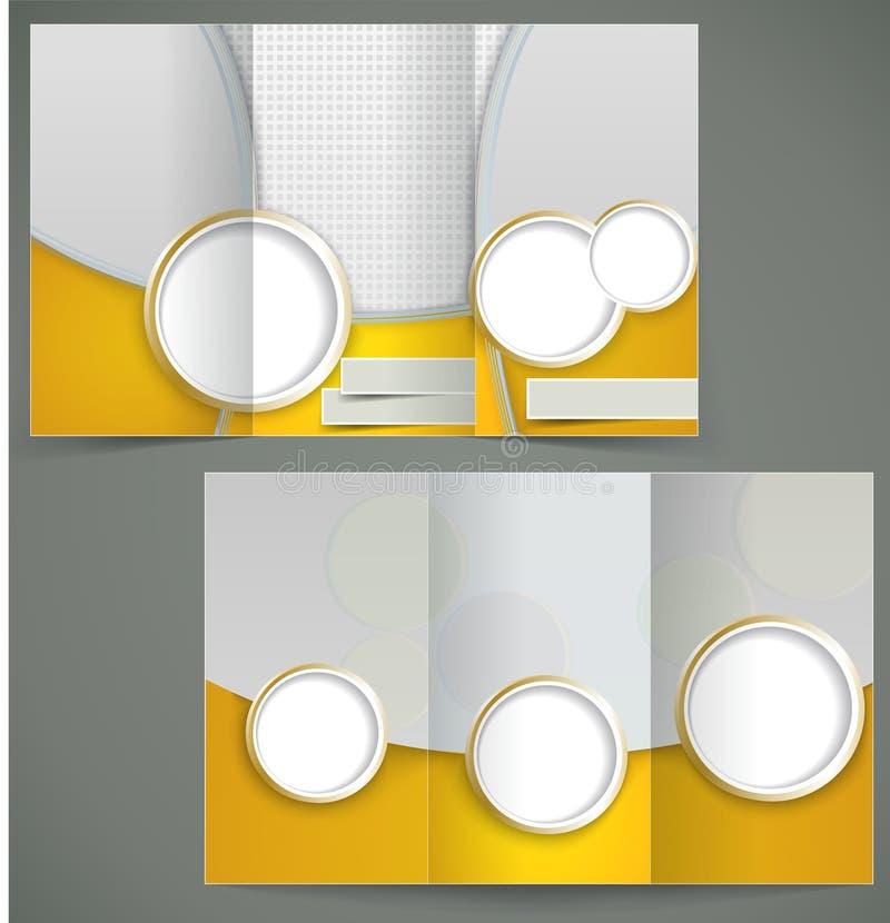 Diseño de plata de la disposición del folleto del vector con e amarilla stock de ilustración