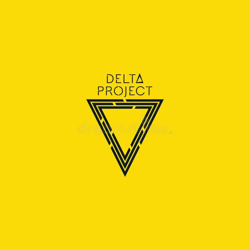 Diseño de proyecto del delta Logotipo negro del color con el fondo amarillo fotos de archivo