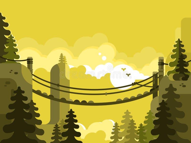 Diseño de puente colgante plano stock de ilustración