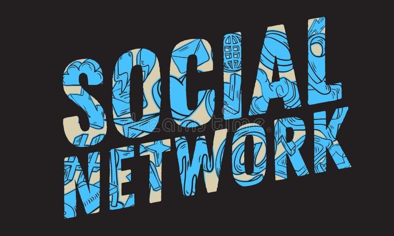 Diseño de red social con incompleto dibujada mano artística relacionado esencial aislada de la historieta de los iconos y de los  stock de ilustración