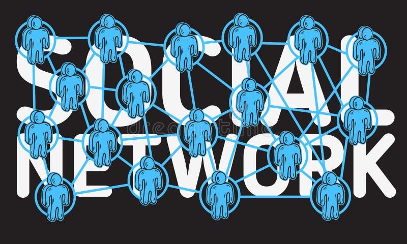 Diseño de red social con la conexión entre la figura humana caracteres de la historieta de los iconos stock de ilustración