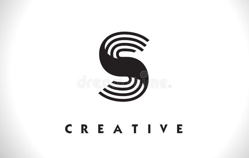 Diseño de S Logo Letter With Black Lines Línea vector Illust de la letra stock de ilustración