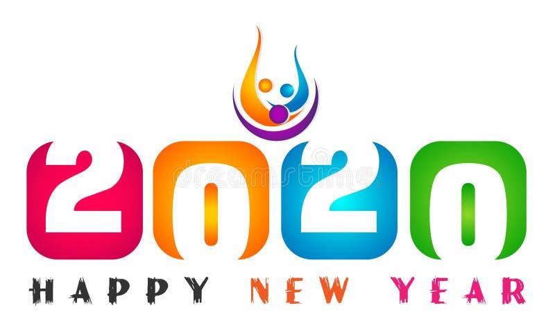 Diseño de saludo colorido del texto de la tarjeta de la Feliz Año Nuevo 2020 y de la gente feliz en coloreado en el fondo blanco stock de ilustración