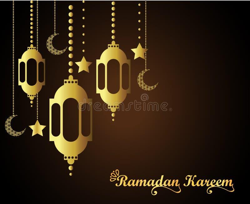 Diseño de saludo islámico del kareem del Ramadán con la linterna y la caligrafía foto de archivo