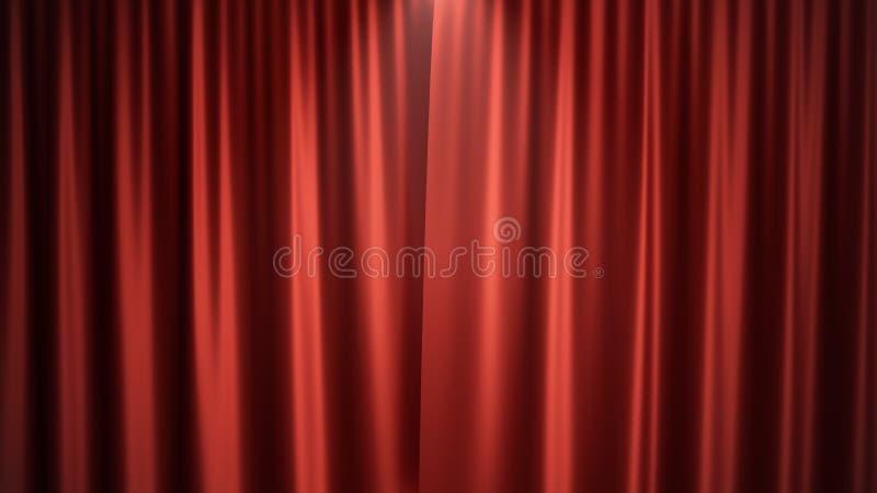 diseño de seda rojo de lujo de la decoración de las cortinas del terciopelo del ejemplo 3D, ideas Cortina roja de la etapa para l ilustración del vector