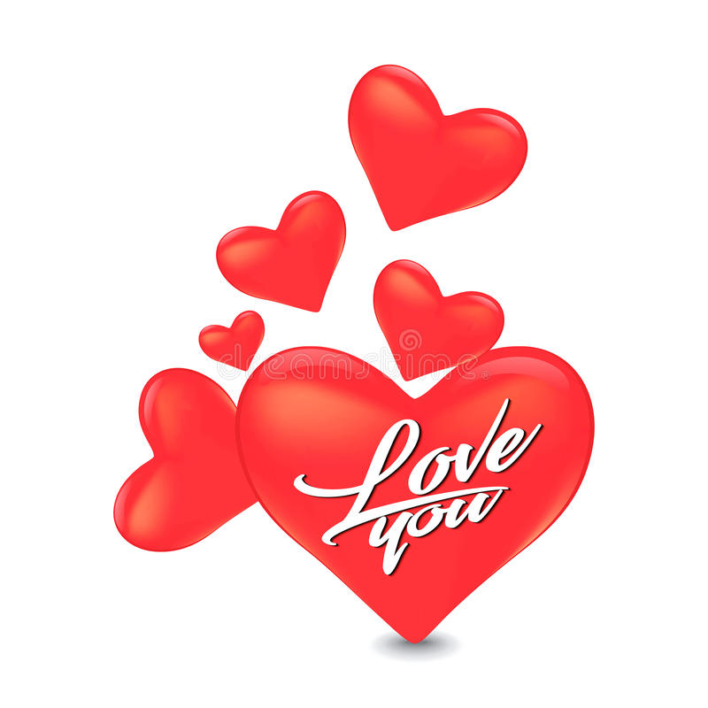 Diseño de tarjeta abstracto del amor del día del ` s de la tarjeta del día de San Valentín con forma grabada en relieve del coraz stock de ilustración