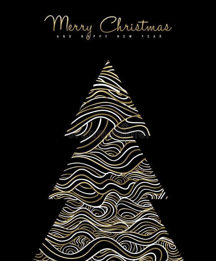 Diseño de tarjeta abstracto del día de fiesta del árbol de navidad del oro stock de ilustración