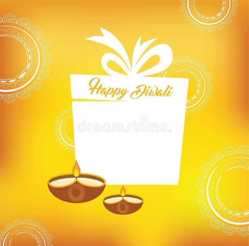 Diseño de tarjeta amarillo del vector del color para el festival de Diwali con las lámparas y el presente hermosos ilustración del vector