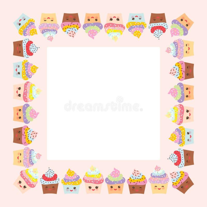 Diseño de tarjeta con el marco cuadrado, magdalena, bozal con las mejillas rosadas y ojos del guiño, colores en colores pastel en stock de ilustración