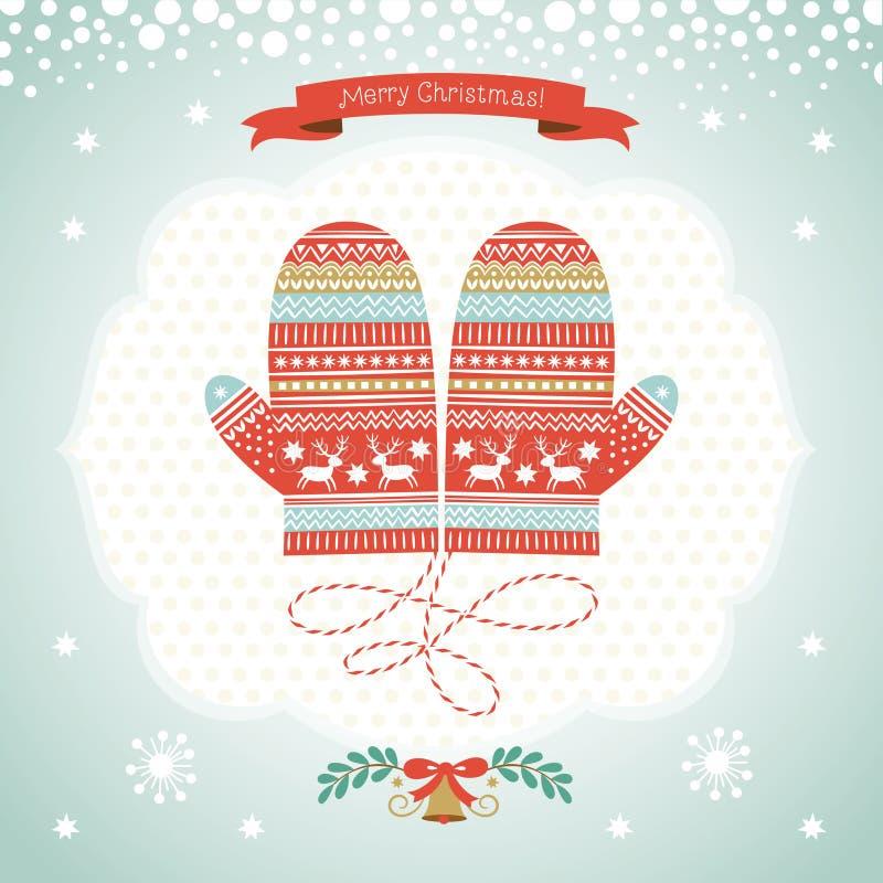 Diseño de tarjeta con las manoplas de la Navidad stock de ilustración