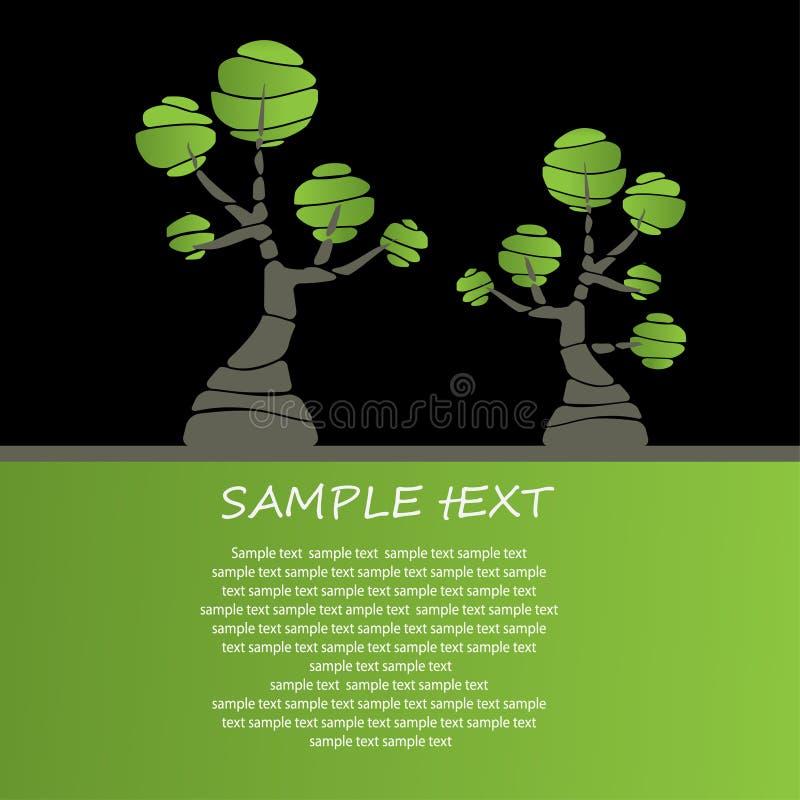 Diseño de tarjeta con los árboles estilizados libre illustration
