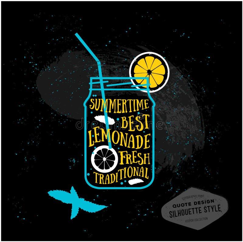 Diseño de tarjeta creativo de las citas del vector limonada ilustración del vector