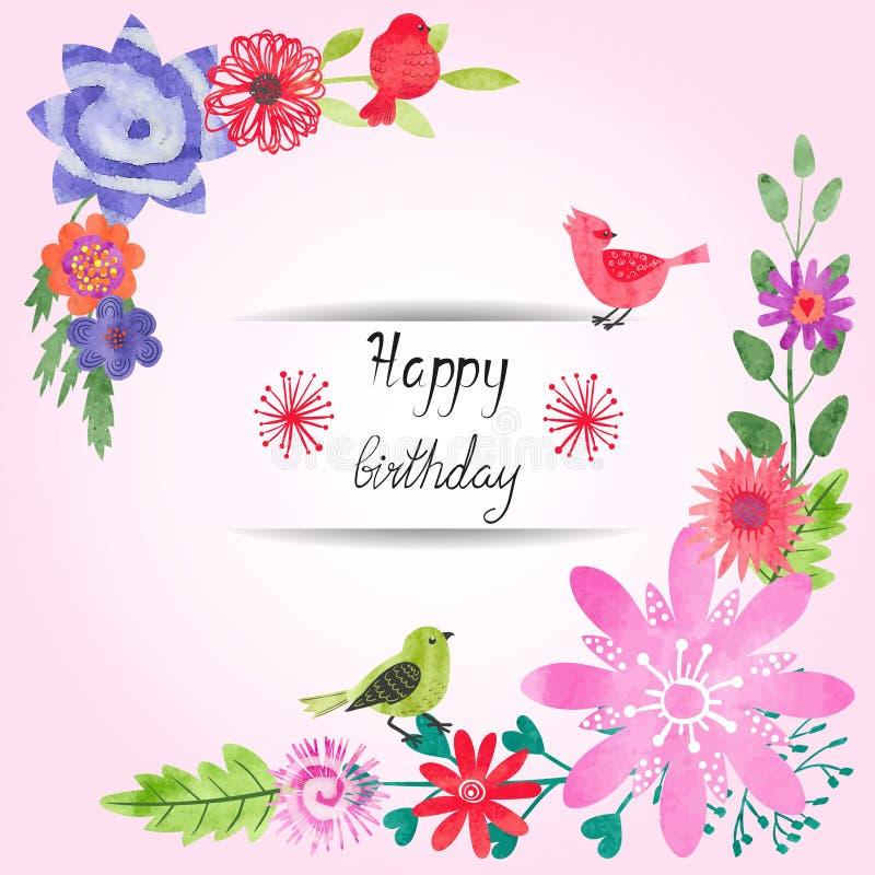 Diseño de tarjeta de cumpleaños con las flores de la acuarela y los pájaros lindos ilustración del vector