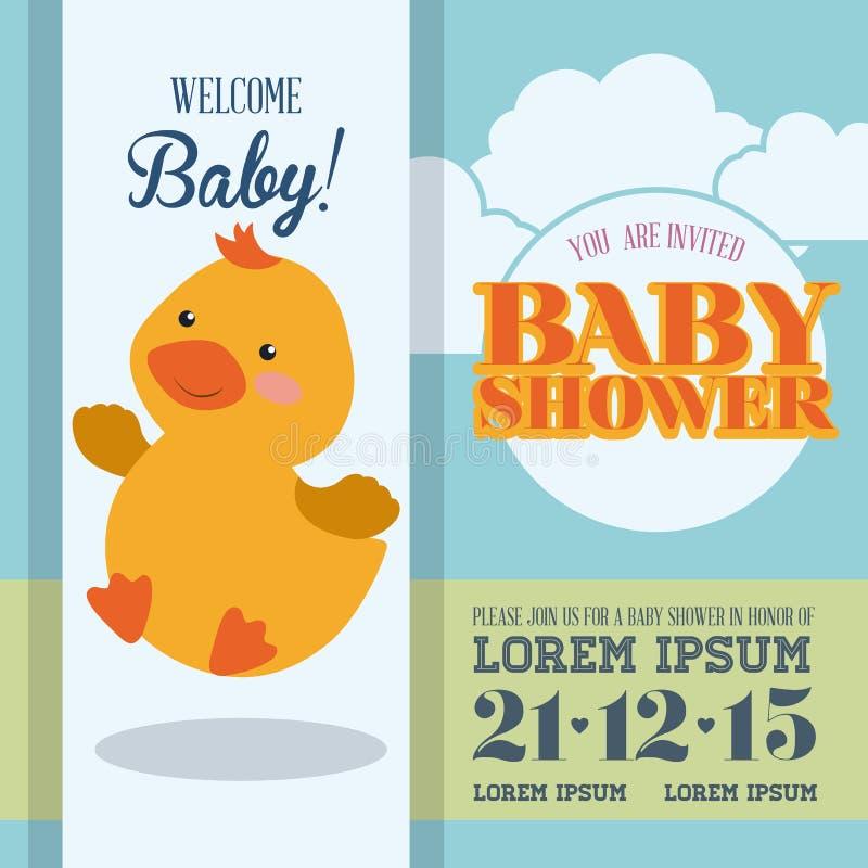 Diseño de tarjeta de la fiesta de bienvenida al bebé libre illustration
