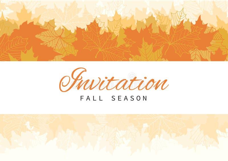 Diseño de tarjeta de la invitación de la caída con las hojas stock de ilustración
