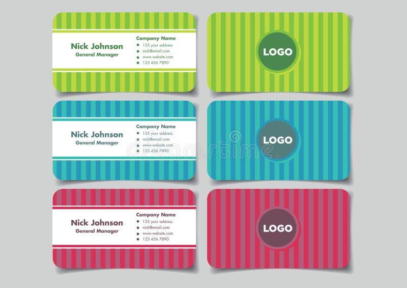 Diseño de tarjeta de presentación del negocio de la diversión con el fondo VE de la raya vertical ilustración del vector