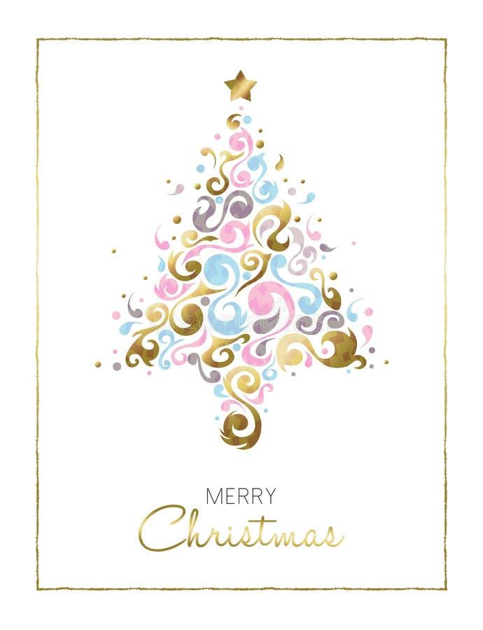 Diseño de tarjeta del árbol de pino de la Feliz Navidad en oro libre illustration