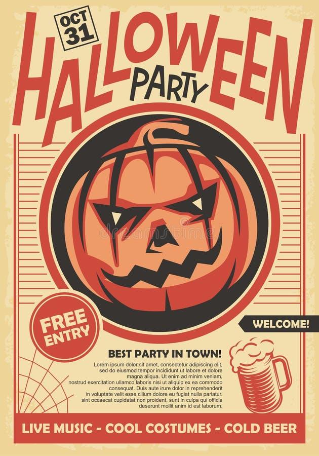 Diseño de tarjeta del cartel y de la invitación del partido de Halloween libre illustration