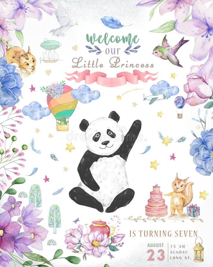 Diseño de tarjeta del feliz cumpleaños con las flores lindas del oso y del boho de panda y el ejemplo de los ramos florales Clip  fotos de archivo libres de regalías