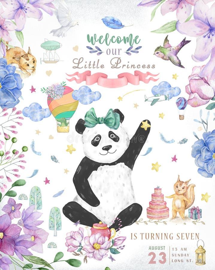 Diseño de tarjeta del feliz cumpleaños con las flores lindas del oso y del boho de panda y el ejemplo de los ramos florales Clip  imagen de archivo libre de regalías