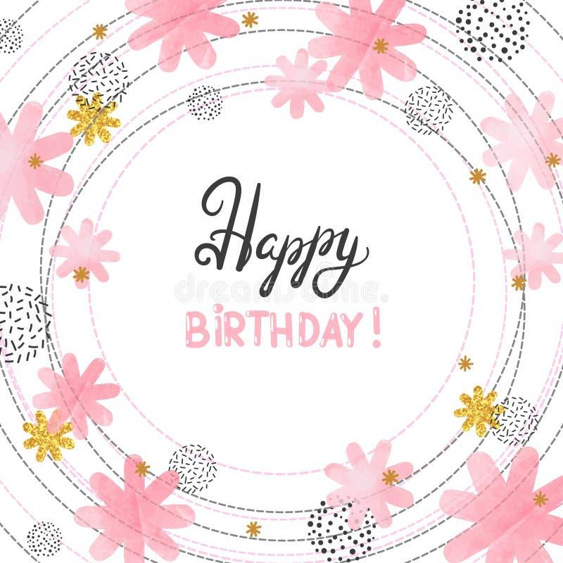 Diseño de tarjeta del feliz cumpleaños con las flores del rosa de la acuarela del extracto ilustración del vector
