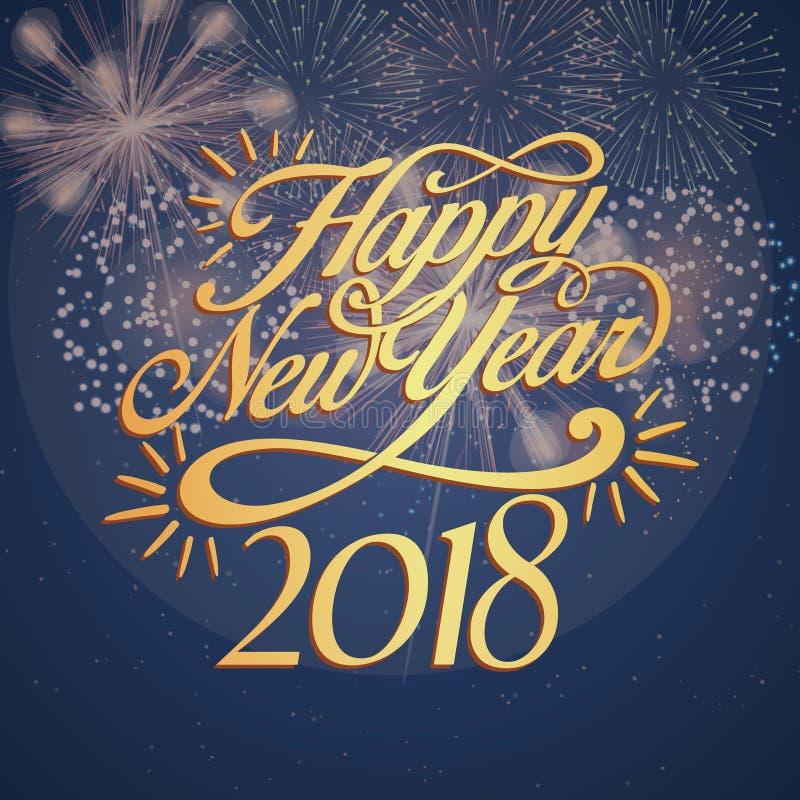 Diseño 2018 de tarjeta del fondo de la Feliz Año Nuevo fotografía de archivo