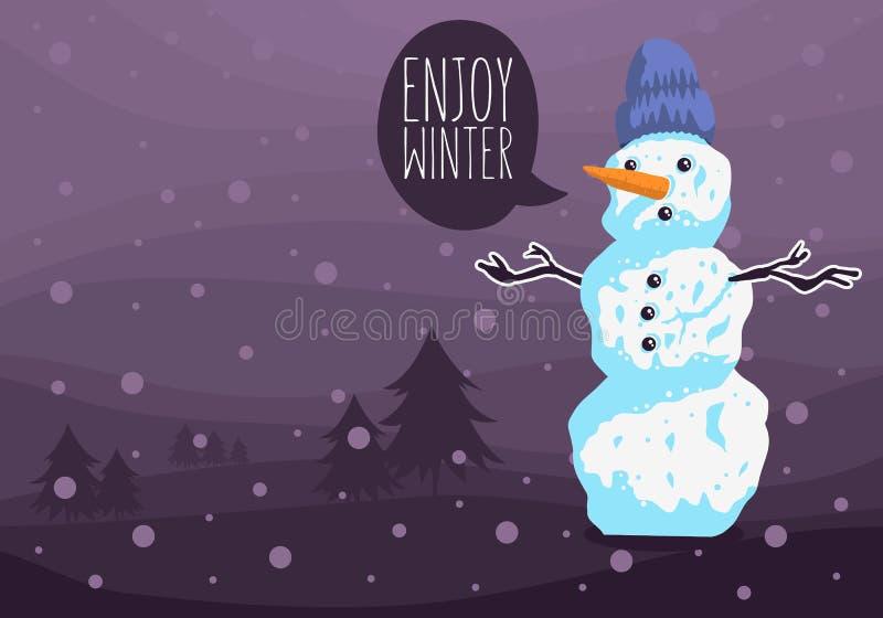 Diseño de tarjeta del invierno con un muñeco de nieve con un paisaje de la imagen y del invierno del sombrero de las lanas stock de ilustración