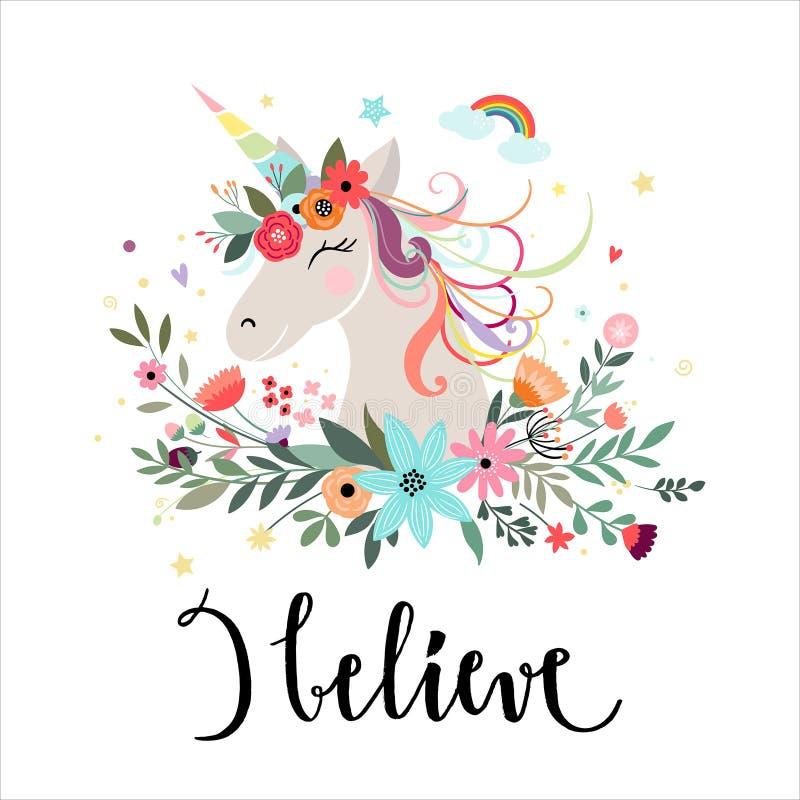 Diseño de tarjeta del unicornio con los elementos dibujados mano ilustración del vector