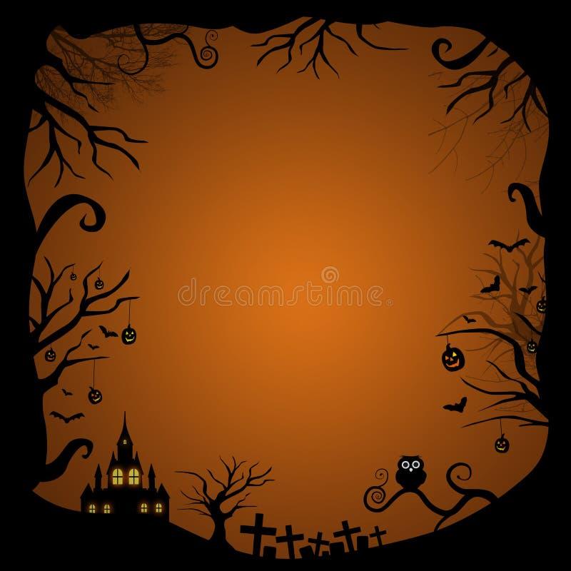 Diseño de tarjeta en blanco de Halloween stock de ilustración