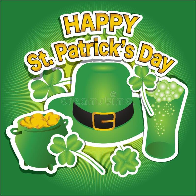 Diseño de tarjeta feliz del día del ` s de St Patrick fotografía de archivo
