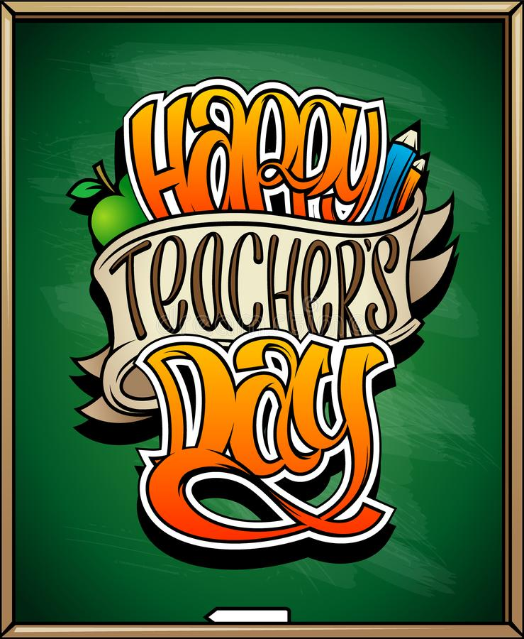 Diseño de tarjeta feliz del día del ` s del profesor, cartel del día de fiesta stock de ilustración