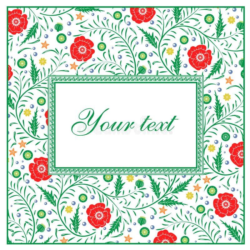 Diseño de tarjeta floral del vector: amapolas rojas de la flor del jardín con verde ilustración del vector