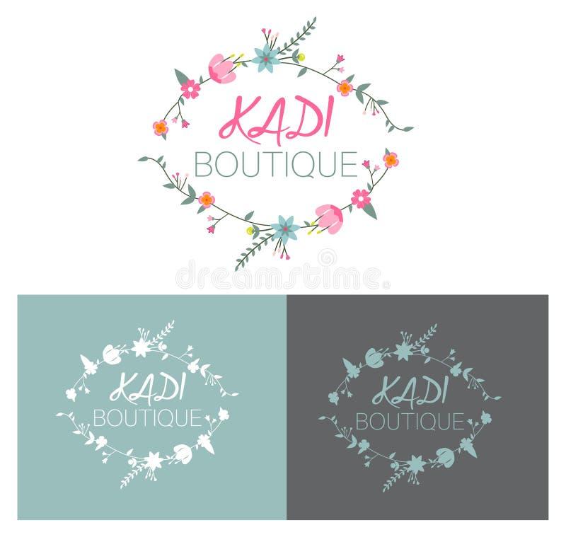 Diseño de tarjeta floral del vector del boutique o concepto de diseño del logotipo stock de ilustración
