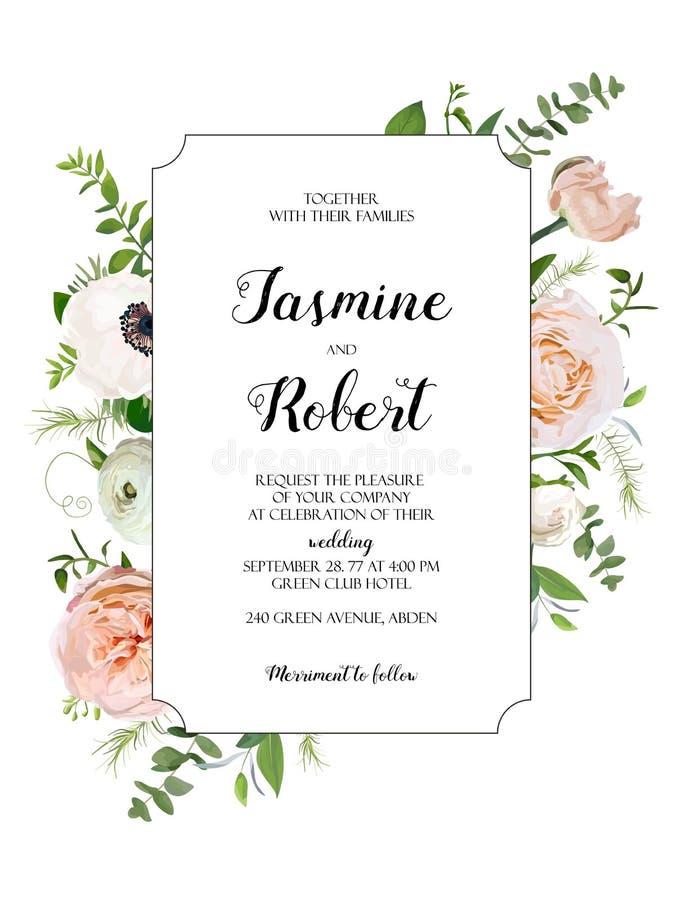 Diseño de tarjeta floral del vector Jardín rosa claro Rose, Anemone Poppy stock de ilustración