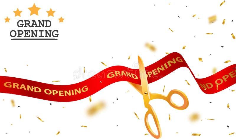 Diseño de tarjeta de gran inauguración con la cinta roja y el confeti colorido libre illustration