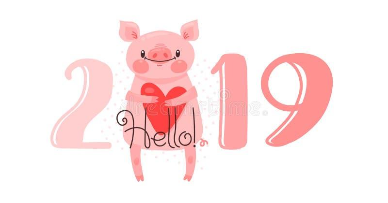 Diseño de tarjeta de la Feliz Año Nuevo 2019 El ejemplo del vector con 2019 números y el cerdo dulce saluda con amor Figuras y libre illustration