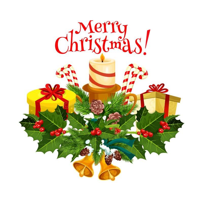 Diseño de tarjeta de la guirnalda de la baya del árbol de navidad y del acebo stock de ilustración
