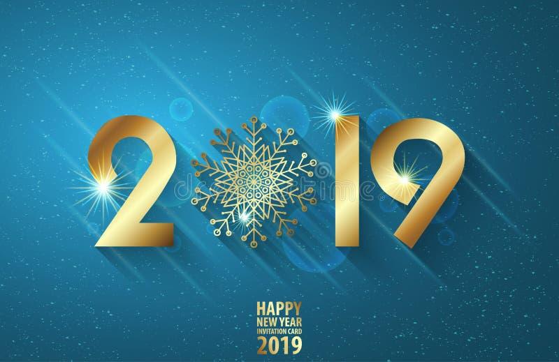 Diseño de tarjeta de la invitación del Año Nuevo Vector el ejemplo del saludo con números de oro y el copo de nieve Diseño del te imagen de archivo